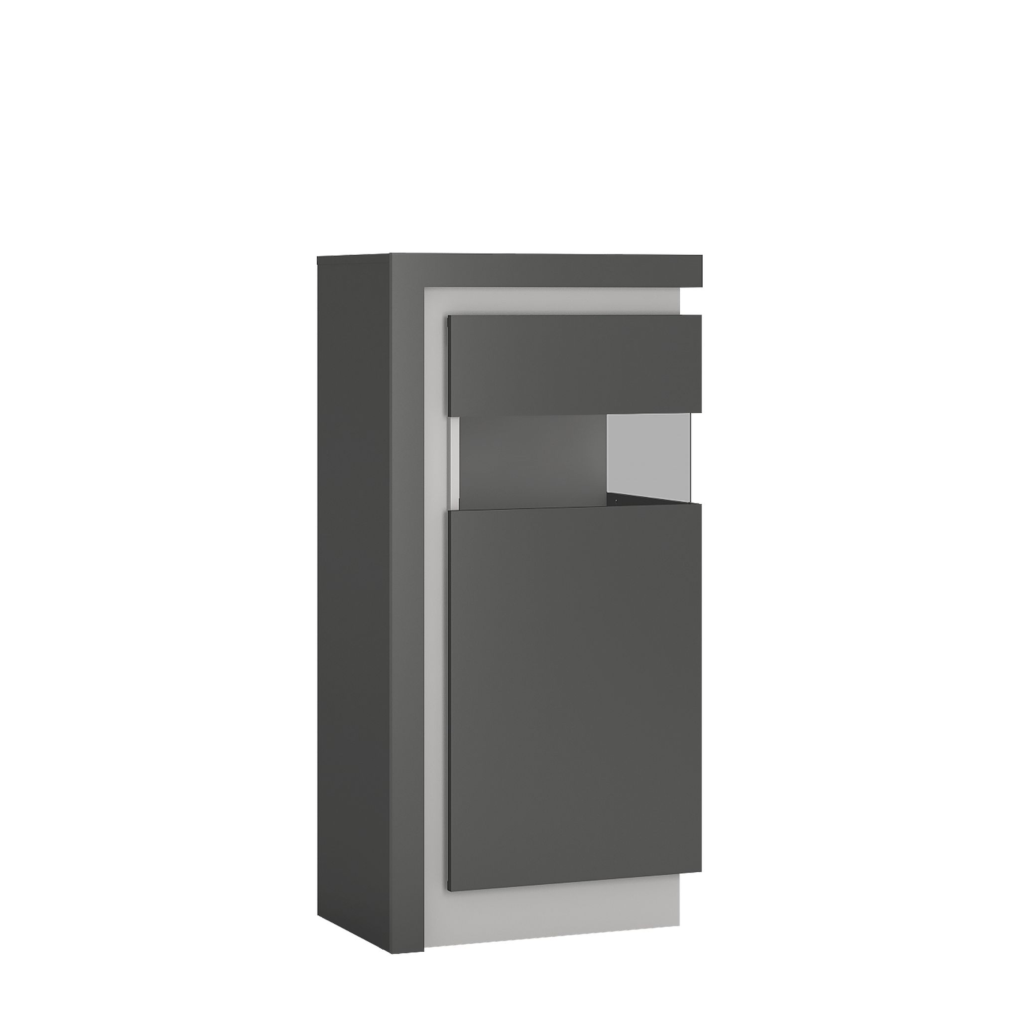 lyon narrow display cabinet rhd high in platinum light grey gloss. Black Bedroom Furniture Sets. Home Design Ideas