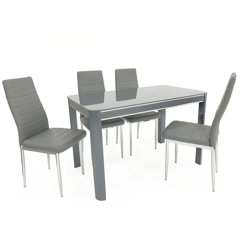 Swell Morano Grey Dining Table 4 Chairs Download Free Architecture Designs Viewormadebymaigaardcom